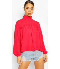 high neck ruffle detail smock top, red