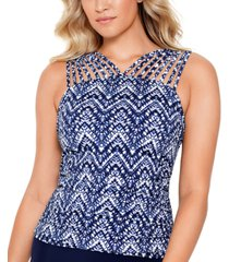 swim solutions printed strappy underwire tummy control tankini top, created for macy's women's swimsuit