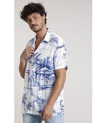 camisa masculina tradicional estampada tropical manga curta off white