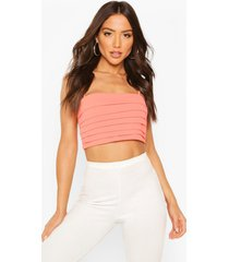 pleated square neck strappy crop top, coral