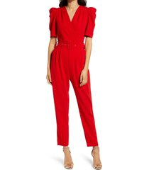 women's adelyn rae yereli belted short sleeve jumpsuit, size x-small - red