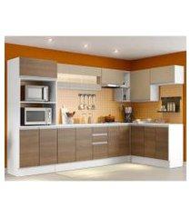 cozinha completa 100% mdf madesa smart modulada de canto branco/rustic/crema rustic