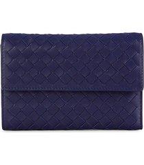 bottega veneta women's intrecciato leather tri-fold wallet - blue