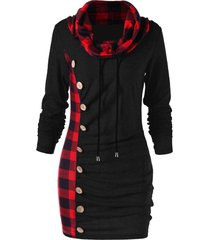 plaid drawstring cowl neck tunic sweatshirt dress