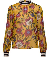 eloise crinkle l/s printed top blus långärmad gul french connection