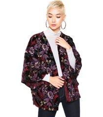 kimono colcci veludo bordado preto