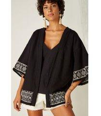 kimono moletom bordado preto