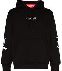 032c embroidered long sleeve hoodie - black