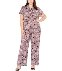 ny collection plus size pleated-front belted printed jumpsuit