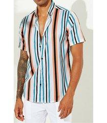 incerun hombres holiday bohemia rainbow manga corta a rayas camisa
