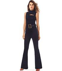 macacao morena rosa longo pantalona com cinto jeans jeans - jeans - feminino - dafiti