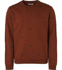 no excess sweater crewneck all over embroider rusty