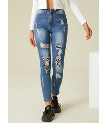 detalles de rasgado aleatorio costura jeans