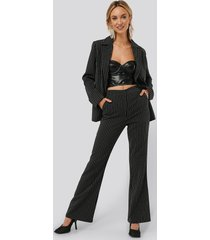 monica geuze x na-kd pinstriped flared suit pants - black