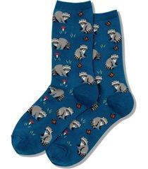 hot sox women's raccoon novelty crew socks