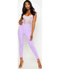 basic skinny crêpe stretch broek met hoge taille, lila