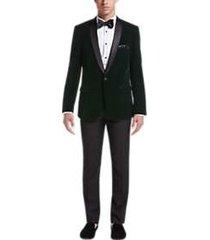 paisley & gray slim fit dinner jacket emerald check velvet