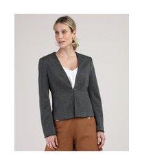 blazer feminino estampado chevron com aviamento cinza mescla escuro