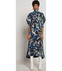 proenza schouler feather print draped puff sleeve dress blue/black/butter feather 8