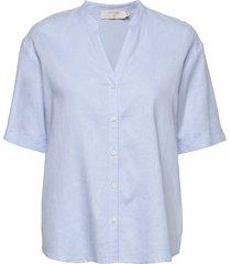 estacr shirt kortärmad skjorta blå cream