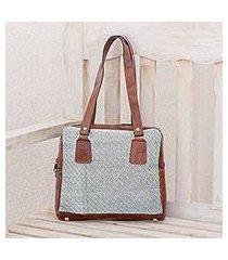 leather accent cotton shoulder bag, 'diamond fashion' (guatemala)