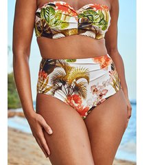 bali palm ruched high waist tummy control bikini brief