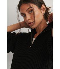 na-kd reborn ekologisk stickad tröja med dragkedja fram - black