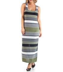 24seven comfort apparel women's plus size racerback stripe maxi dress