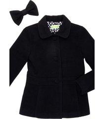 casaco lã laço removível gingga baby e kids preto