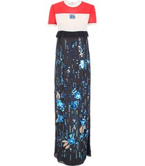 prada long embroidered chiffon dress