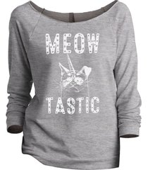 thread tank meow tastic women's slouchy 3/4 sleeves raglan sweatshirt sport grey