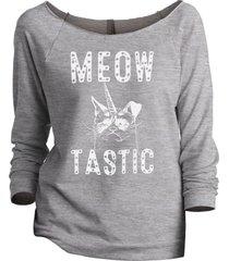 thread tank meow tastic women's slouchy 3/4 sleeves raglan sweatshirt sport grey