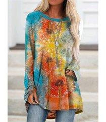camicetta da donna a manica lunga con stampa floreale multicolore