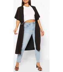 crochet trim kimono, black