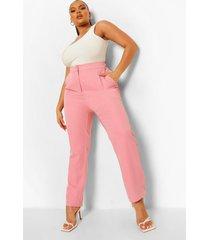 plus getailleerde gelegenheids broek met hoge taille, pink