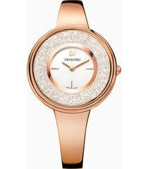 orologio crystalline pure, bracciale di metallo, bianco, pvd oro rosa
