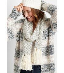 maurices womens neutral fringe trim oblong scarf beige