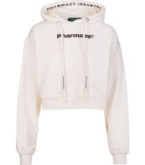 pharmacy industry woman short white hoodie with contrast pharmacy print