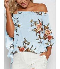 yoins blusa azul con abertura y hombros descubiertos con estampado floral al azar
