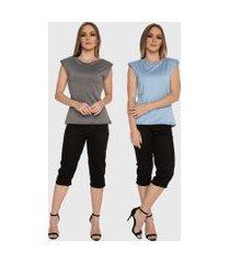 kit 2 blusas regata muscle tee carbella regata modal confort com ombreira azul/cinza