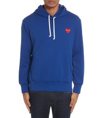comme des garcons play pullover hoodie, size medium in navy at nordstrom