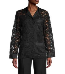 valentino women's semi-sheer lace shirt - nero - size 40 (4)
