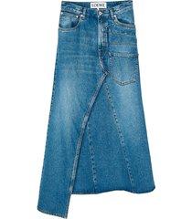 asymmetric midi denim skirt