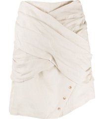 each x other textured wrap front skirt - neutrals