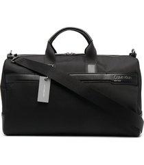 calvin klein debossed-logo weekend bag - black