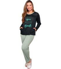 pijama bella fiore modas em poã¡ poliane verde - azul/verde - feminino - poliã©ster - dafiti