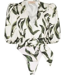 adriana degreas leaf print belted bodysuit - white
