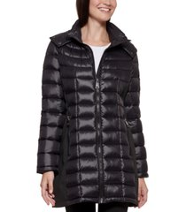 calvin klein petite hooded puffer coat, created for macy's