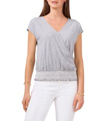 women's vince camuto wrap front embroidered waist cotton & modal top, size small - metallic