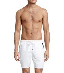 calvin klein swim men's logo tape swim shorts - white - size xl